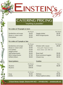Einstein's Catering Menu